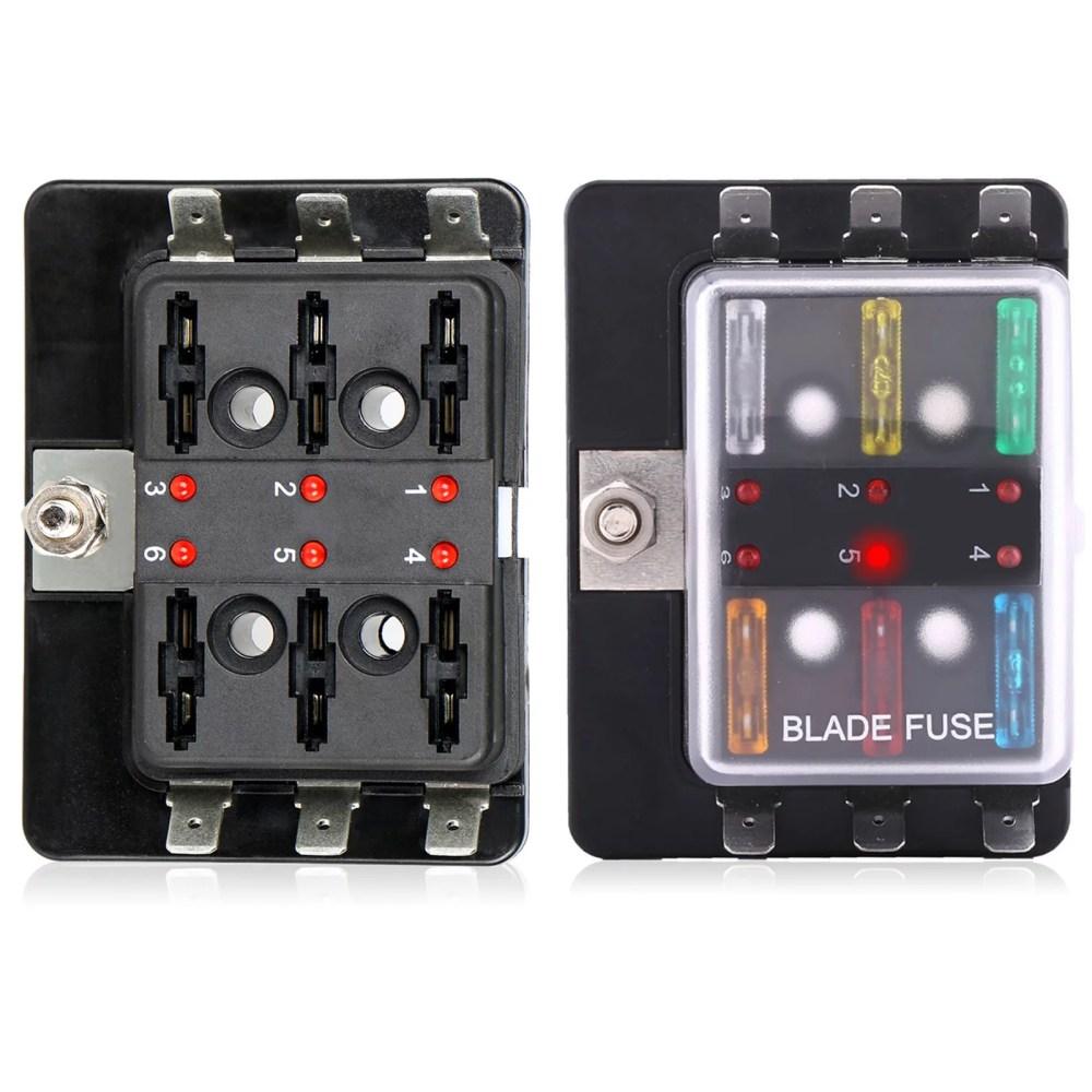 medium resolution of tsv led illuminated automotive blade fuse holder box 6circuit fuse block walmart com