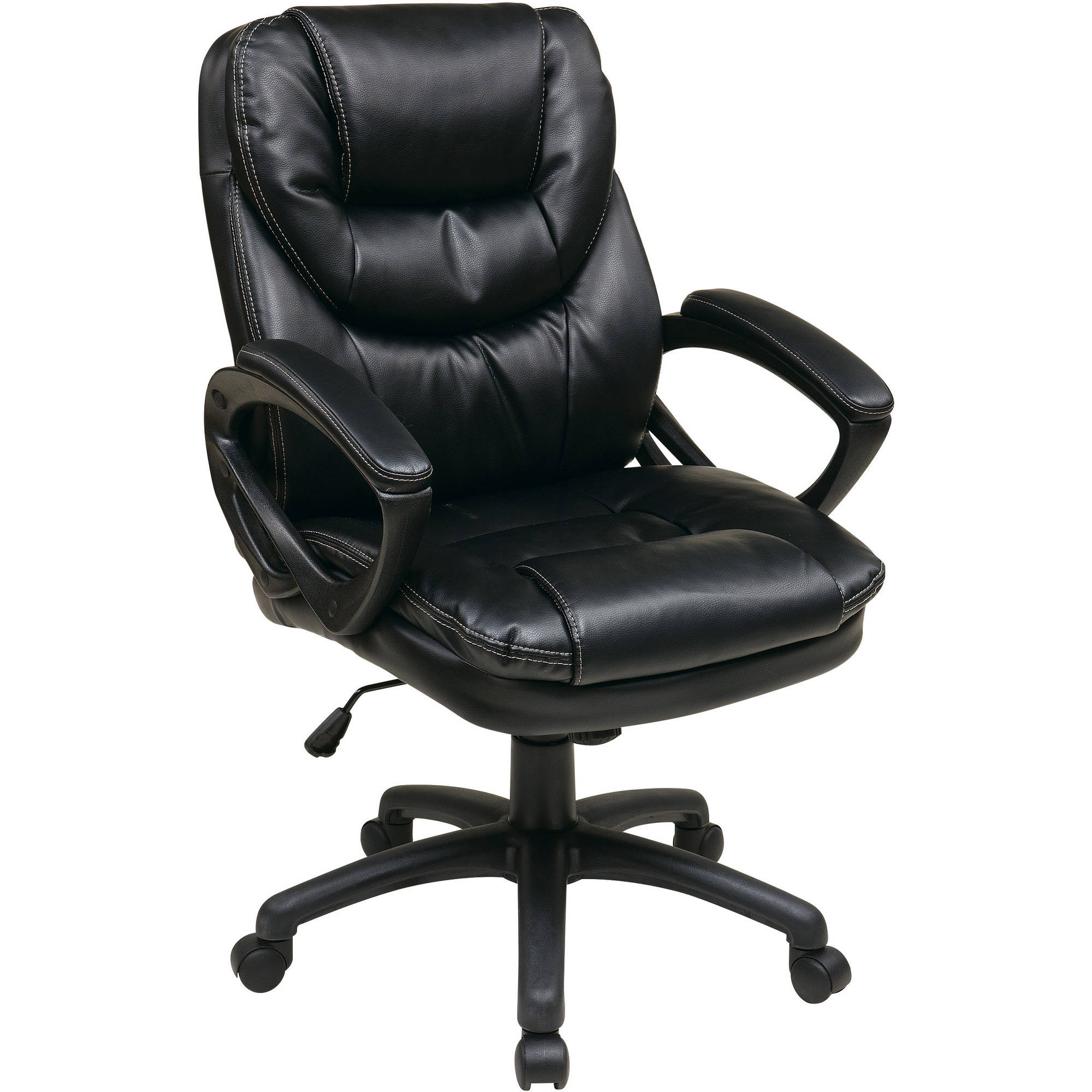 Work Chair Faux Leather Executive Swivel Manager S Office Chair With Padded Arms