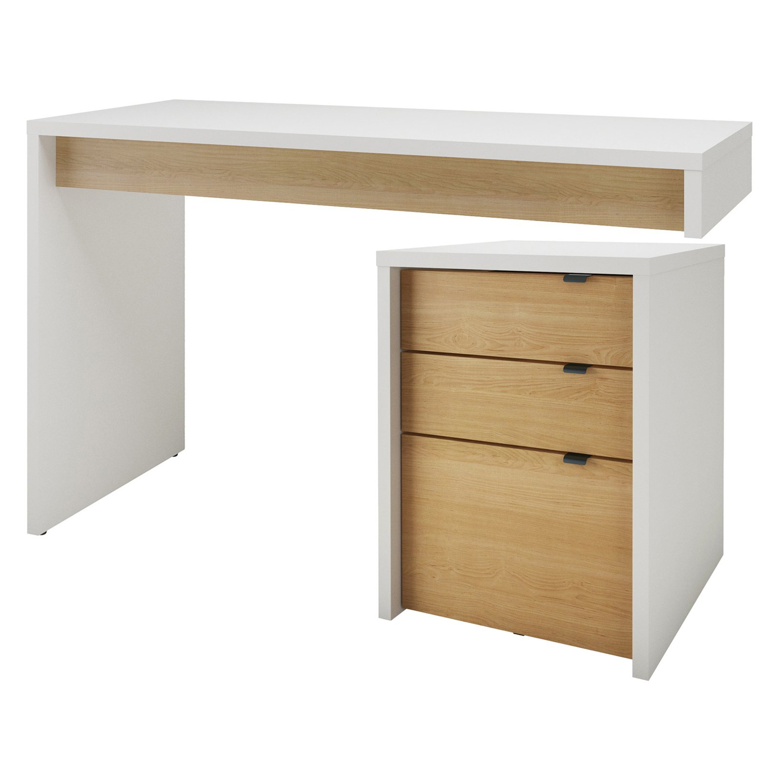 Nexera Chrono Reversible Writing Desk with File Cabinet