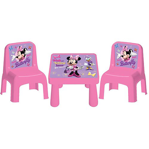 minnie table and chairs fancy bean bag disney bowtique cafe set walmart com departments