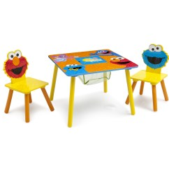 Elmo Table And Chairs Extended Shower Chair Sesame Street Wood Kids Storage Set By Delta Children Walmart Com
