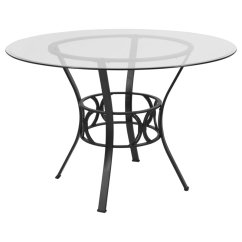 Kitchen Glass Table Herb Kit Flash Furniture 45 Round Top Dining In Clear Black Qty