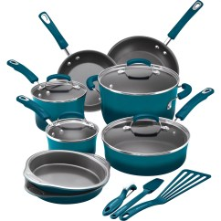 Rachael Ray Kitchen Tall Bin 15 Piece Hard Enamel Aluminum Nonstick Cookware Set Walmart Com