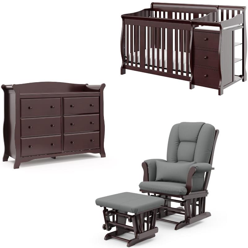 3 piece crib and changing table set with dresser and glider ottoman in espresso