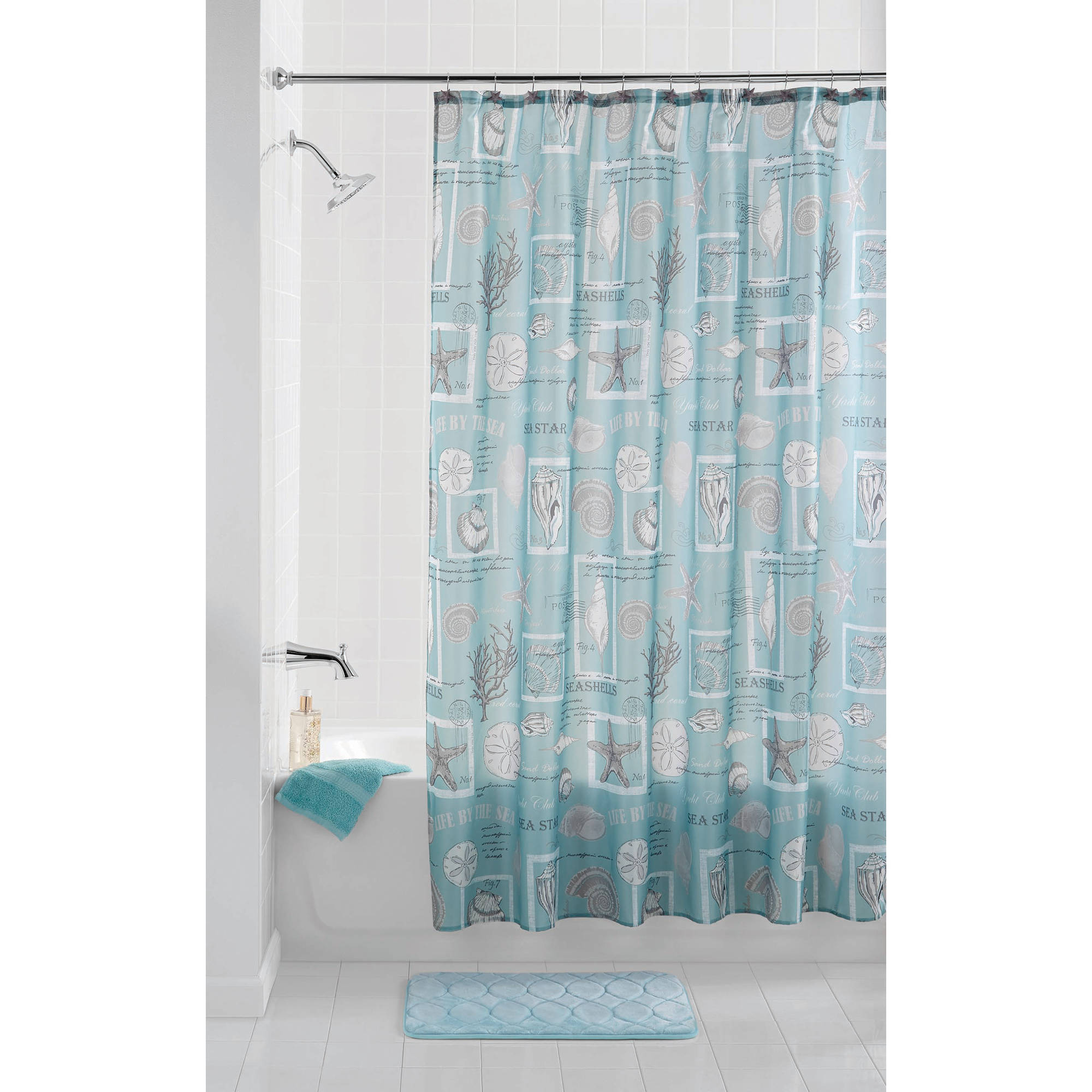 mainstays coastal aqua shower curtain set with shower curtain hooks 13 piece walmart com