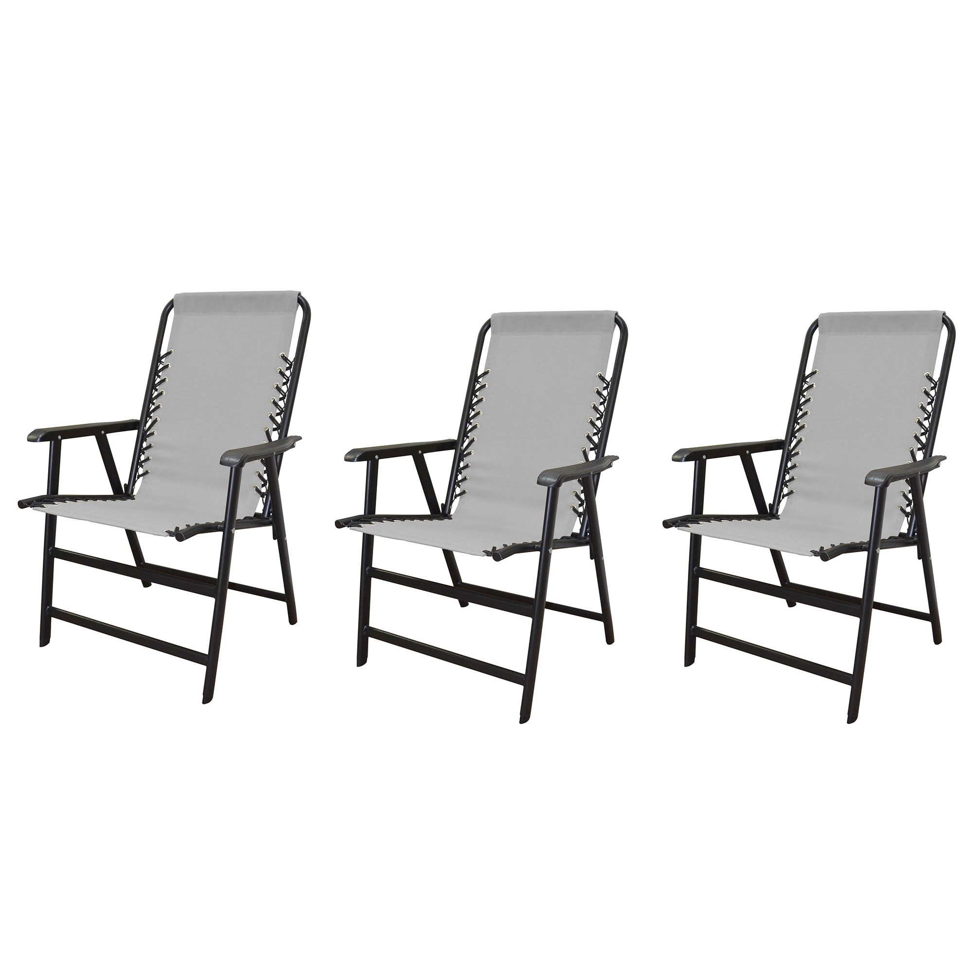 caravan canopy folding chairs pub kitchen table and infinity suspension steel patio deck chair gray 3 pack walmart com