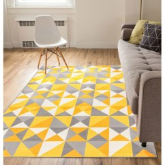 Yellow Area Rug Living Room Mirrors On Walls In Rooms Well Woven Kings Court Vector Geometric Walmart Com