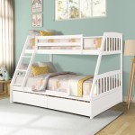 Wooden Bunk Bed Frame Modern Sturdy Bunk Bed Twin Over Full Bunk Beds With Removable Ladder 2 Storage Drawers Strong Slat Support Bunk Bed Twin Over Full For Kids Easy Assembly