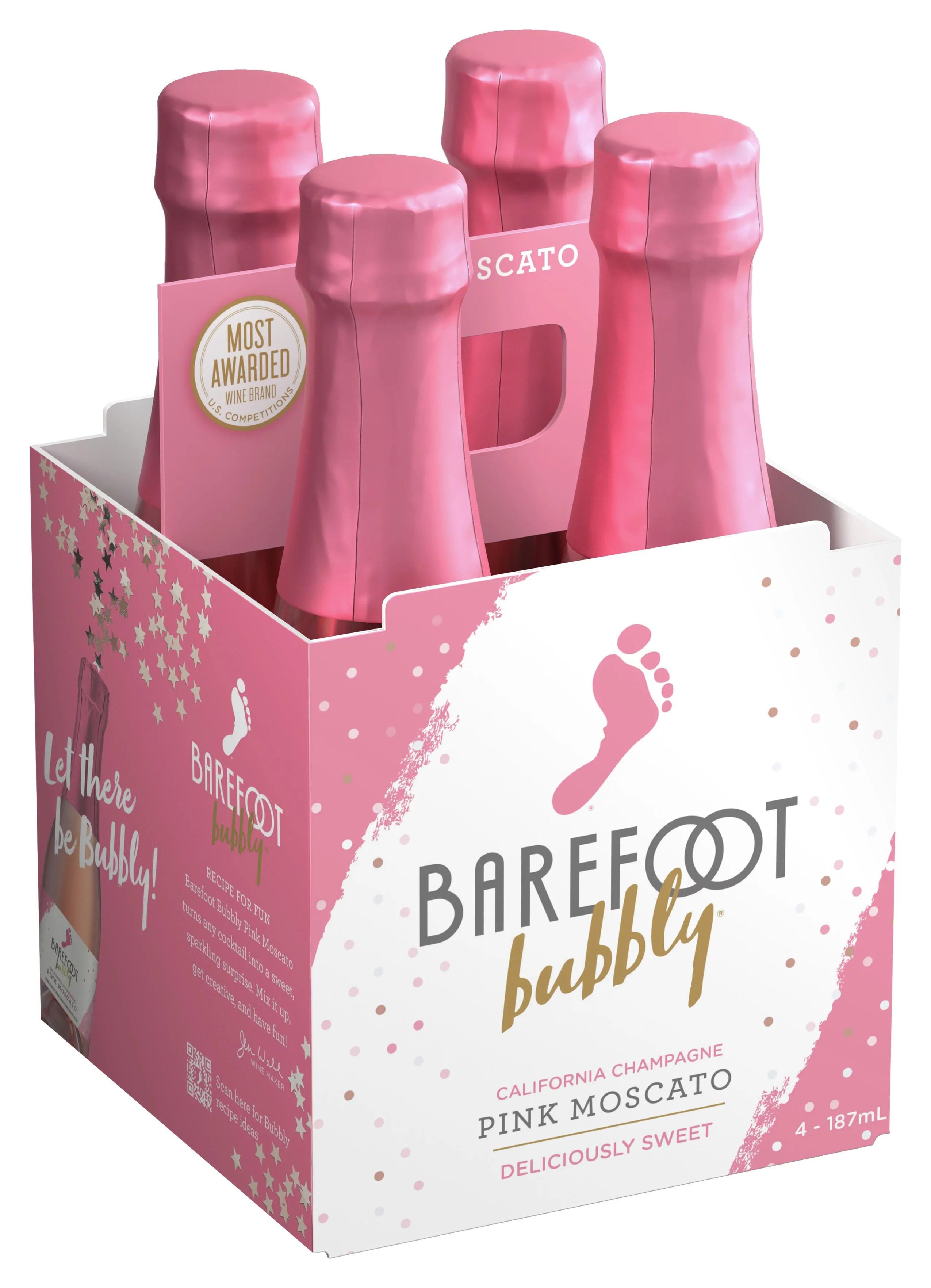 Barefoot Pink Moscato Mini Bottles Walmart : barefoot, moscato, bottles, walmart, Barefoot, Bubbly, Moscato, Wine,, Pack,, Walmart.com, Walmart