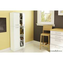 Furniture Kitchen Pantry Black Countertops South Shore Smart Basics 4 Door Storage Multiple Finishes Walmart Com