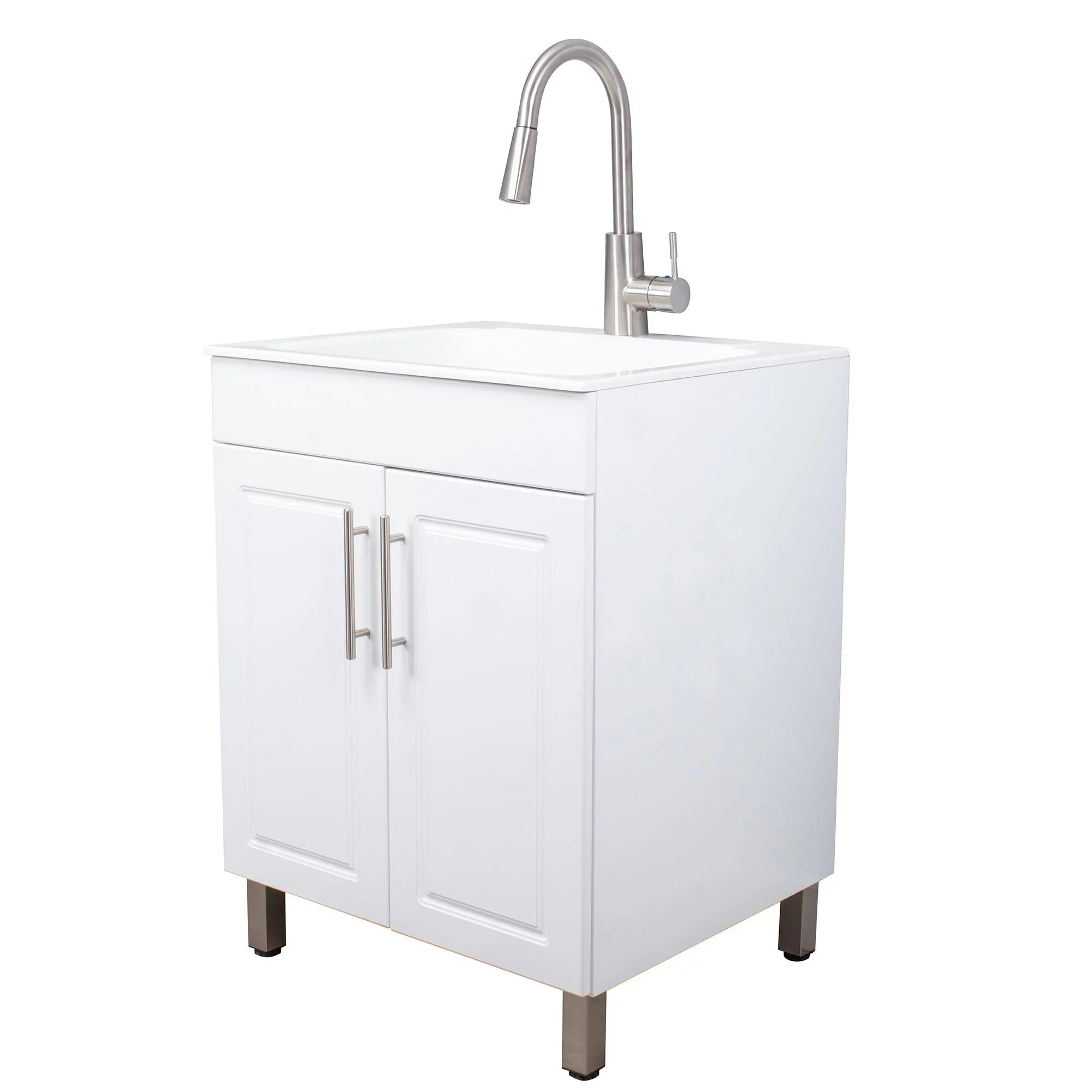 white laundry cabinet vanity utility sink with high arc stainless steel faucet and fiberglass tub walmart com