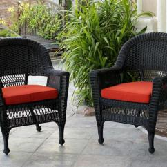 All Weather Garden Chairs Baby Shower Chair For Mother To Be 2 Black Resin Wicker Outdoor Patio With Red Orange Cushions 36 Walmart Com