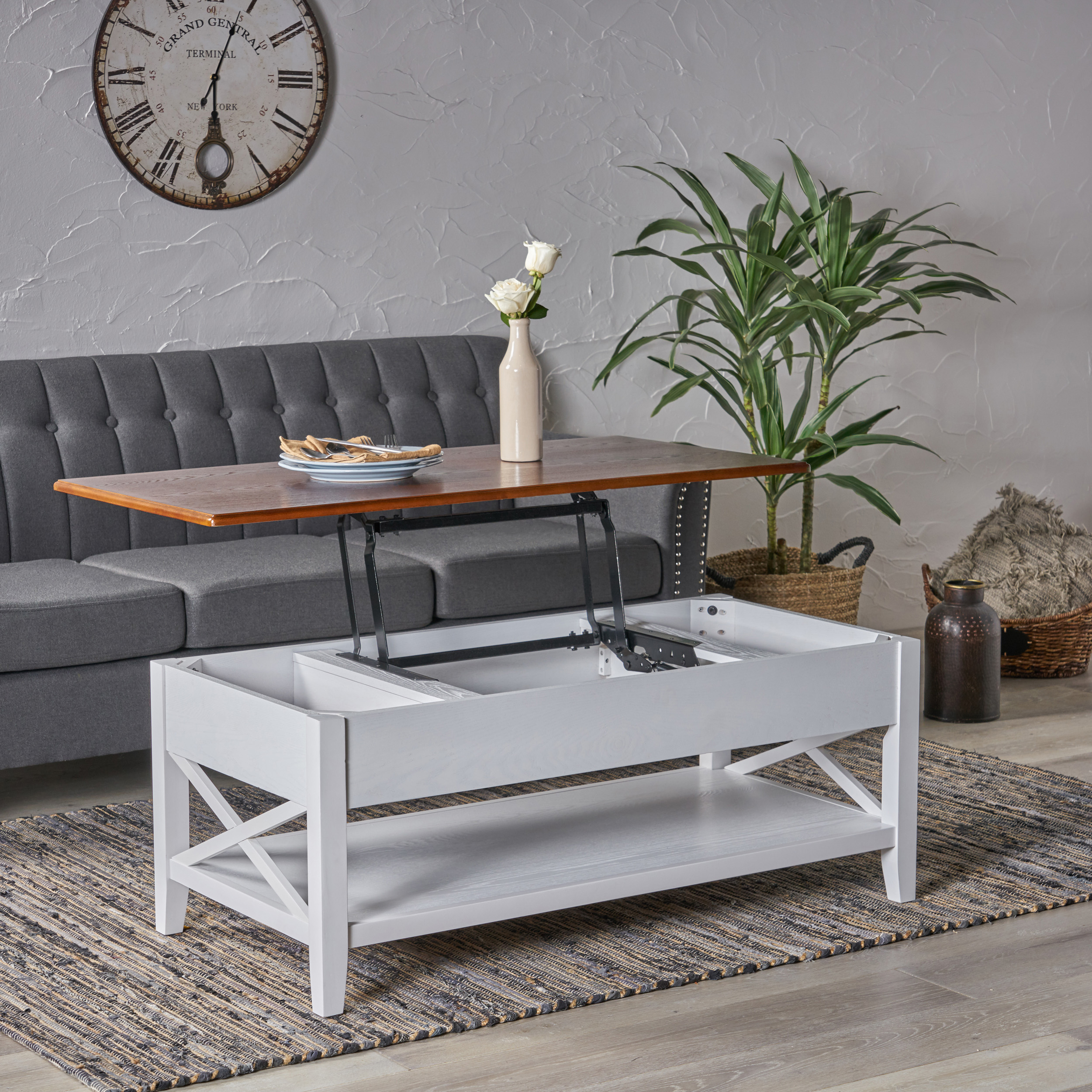 laurel luke farmhouse faux wood lift top coffee table brown and white