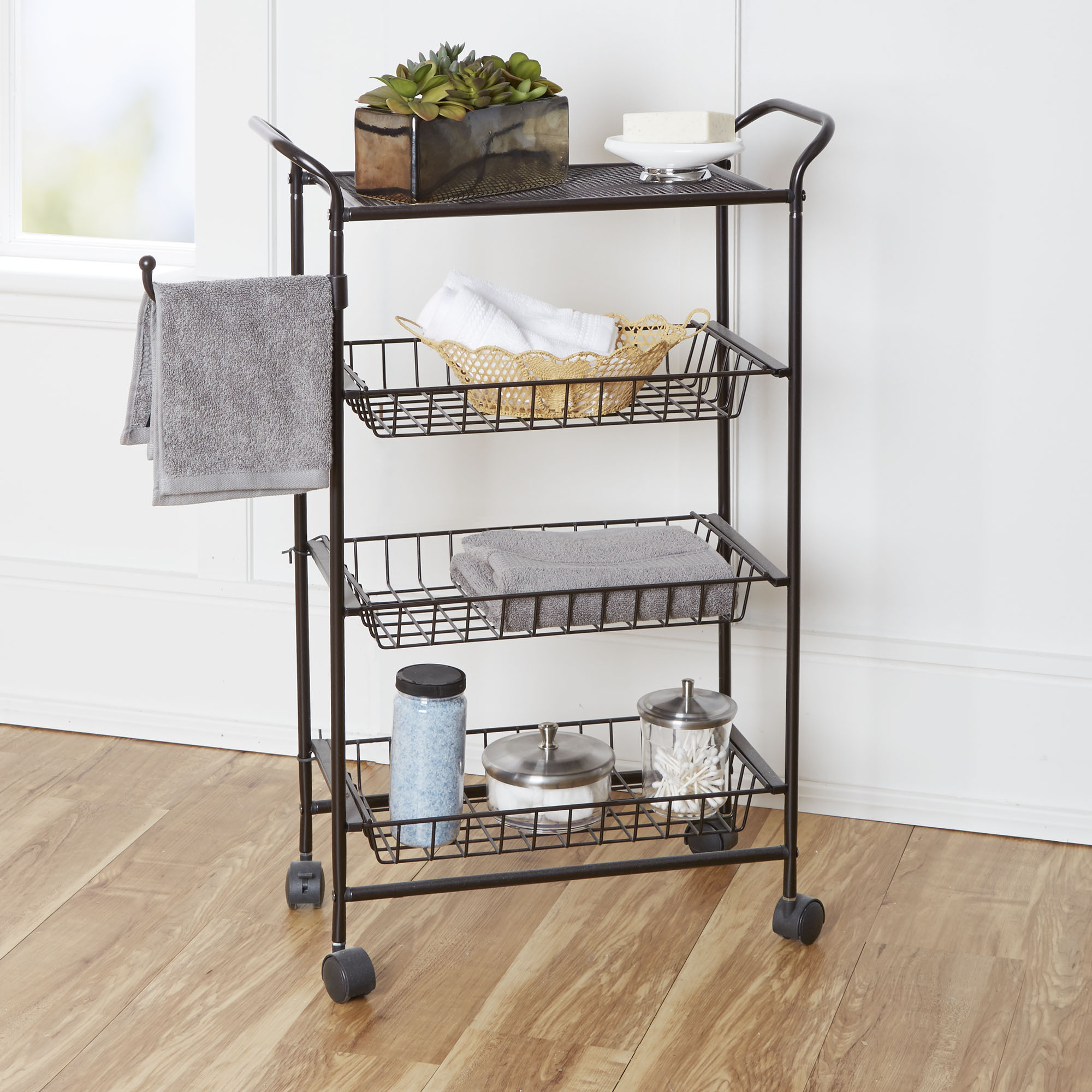 Chapter Bathroom Storage Cart with Towel Hook OilRubbed