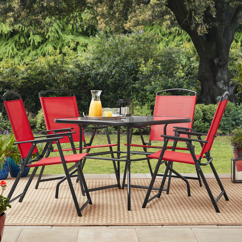mainstays heritage park outdoor patio dining set folding 5 piece