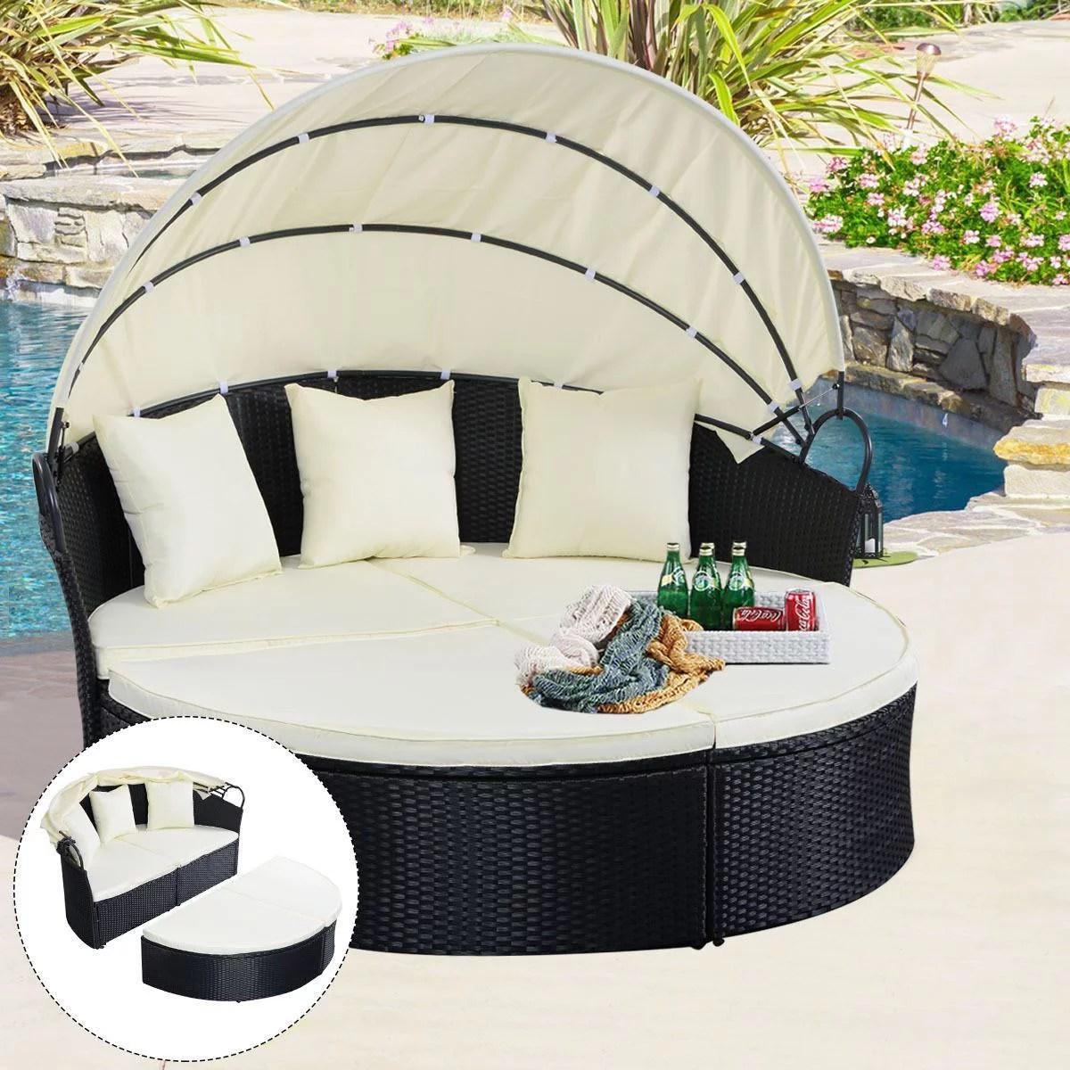 outdoor patio furniture round daybed retractable sofa black walmart com