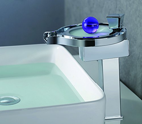 cascada color changing led waterfall bathroom sink faucet chrome finish hdd727h