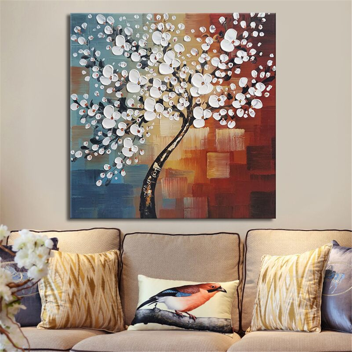 framed wall art for living room eco friendly furniture meigar white flower tree canvas print oil painting modern abstract artwork hand painted floral on