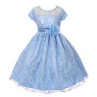 Girls Baby Blue Lace Overlaid Short Sleeved Junior ...