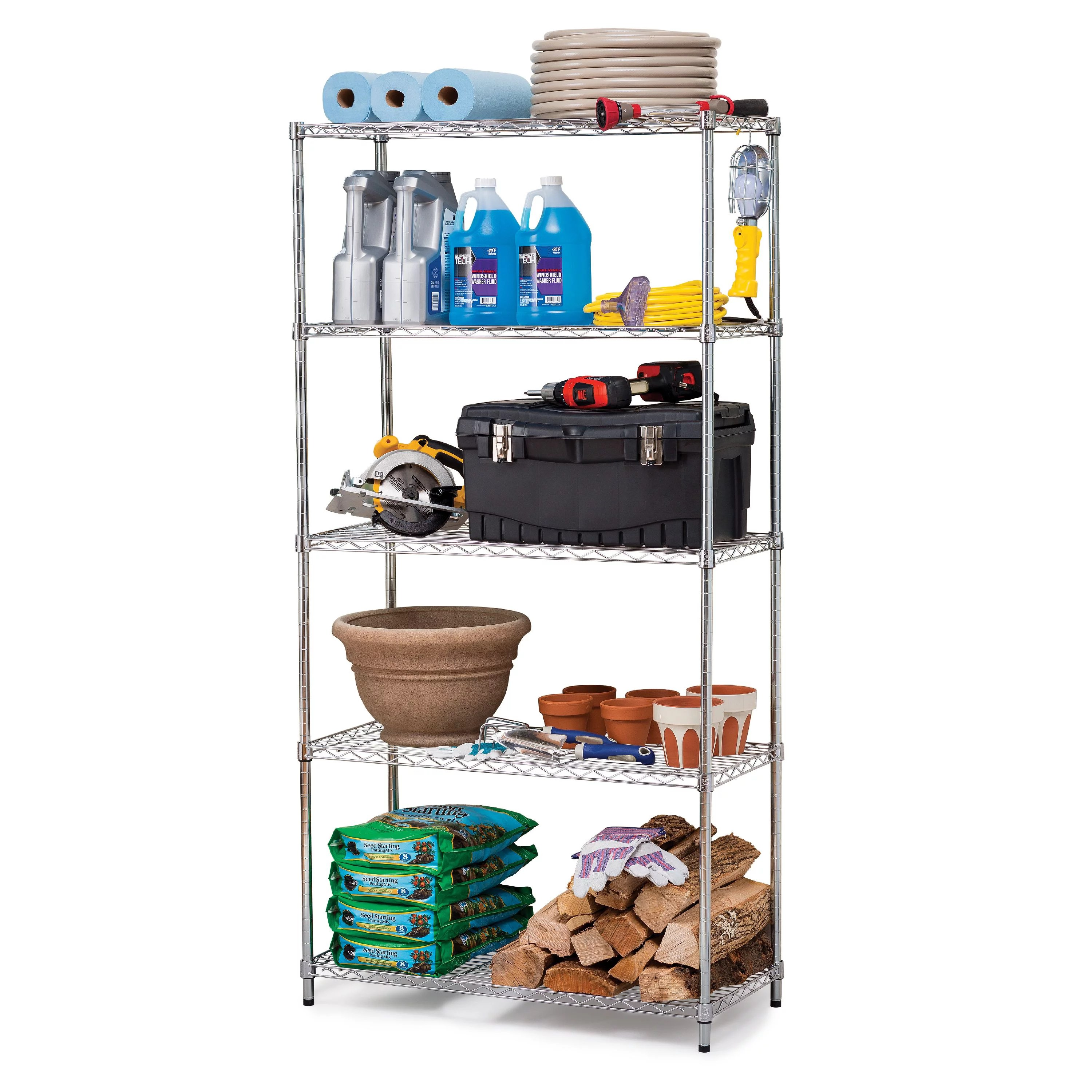 hss 16 dx36 wx72 h 5 tier wire shelving rack steel silver zinc weight capacity per shelf 250 lbs evenly distributed