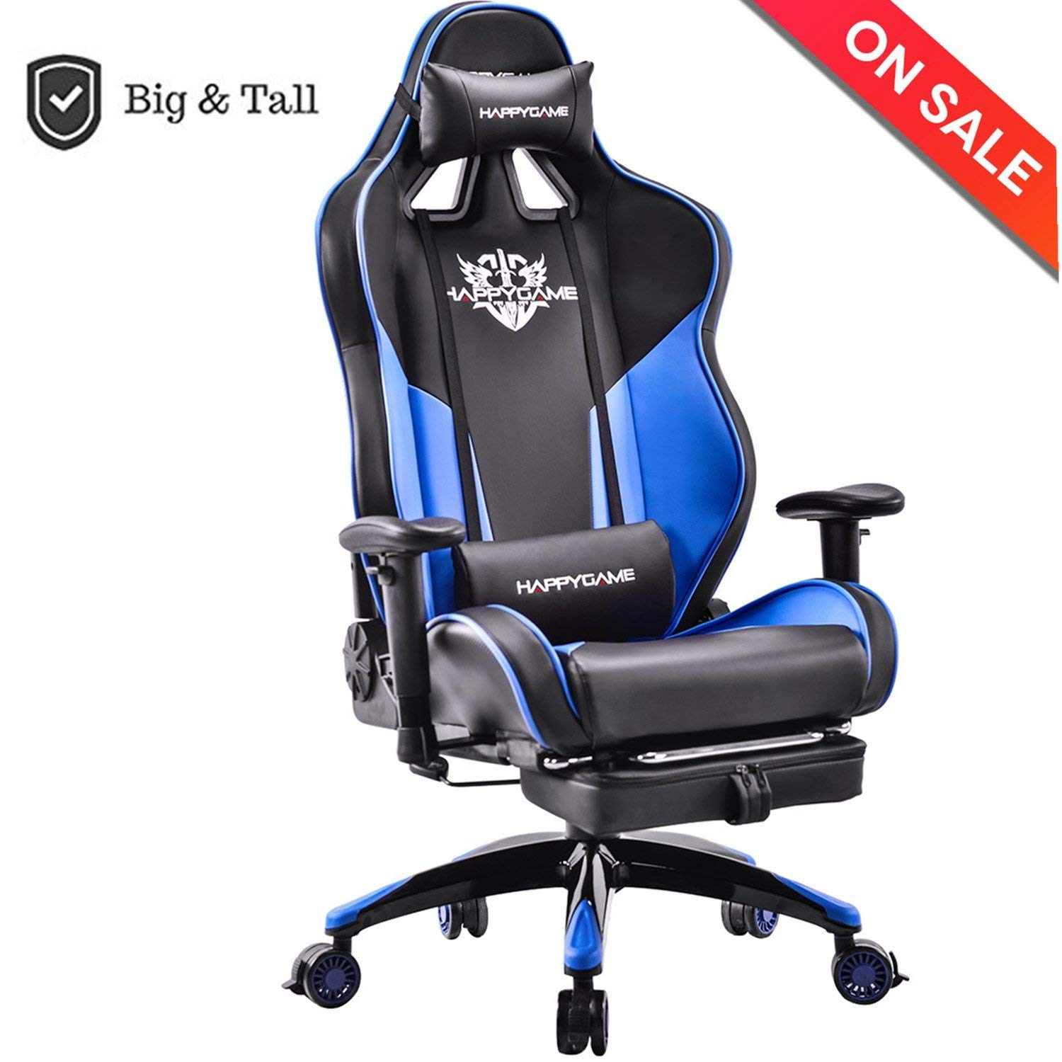 heavy duty gaming chair sunbrella outdoor cushions happygame oversized 400 lb capacity racing high back ergonomic swivel computer chairs executive office