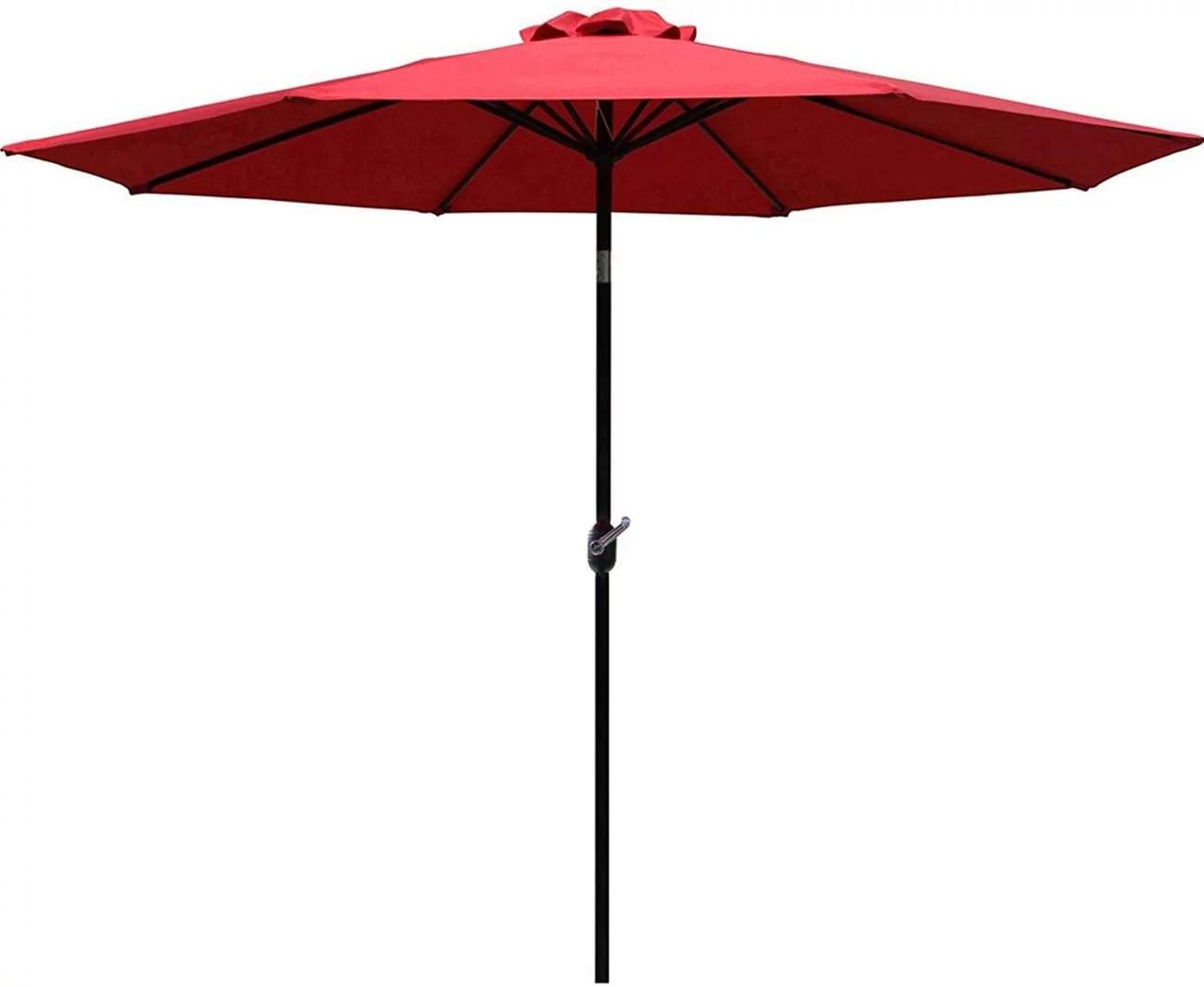 sunnyglade 9 patio umbrella outdoor table umbrella with 8 sturdy ribs red walmart com