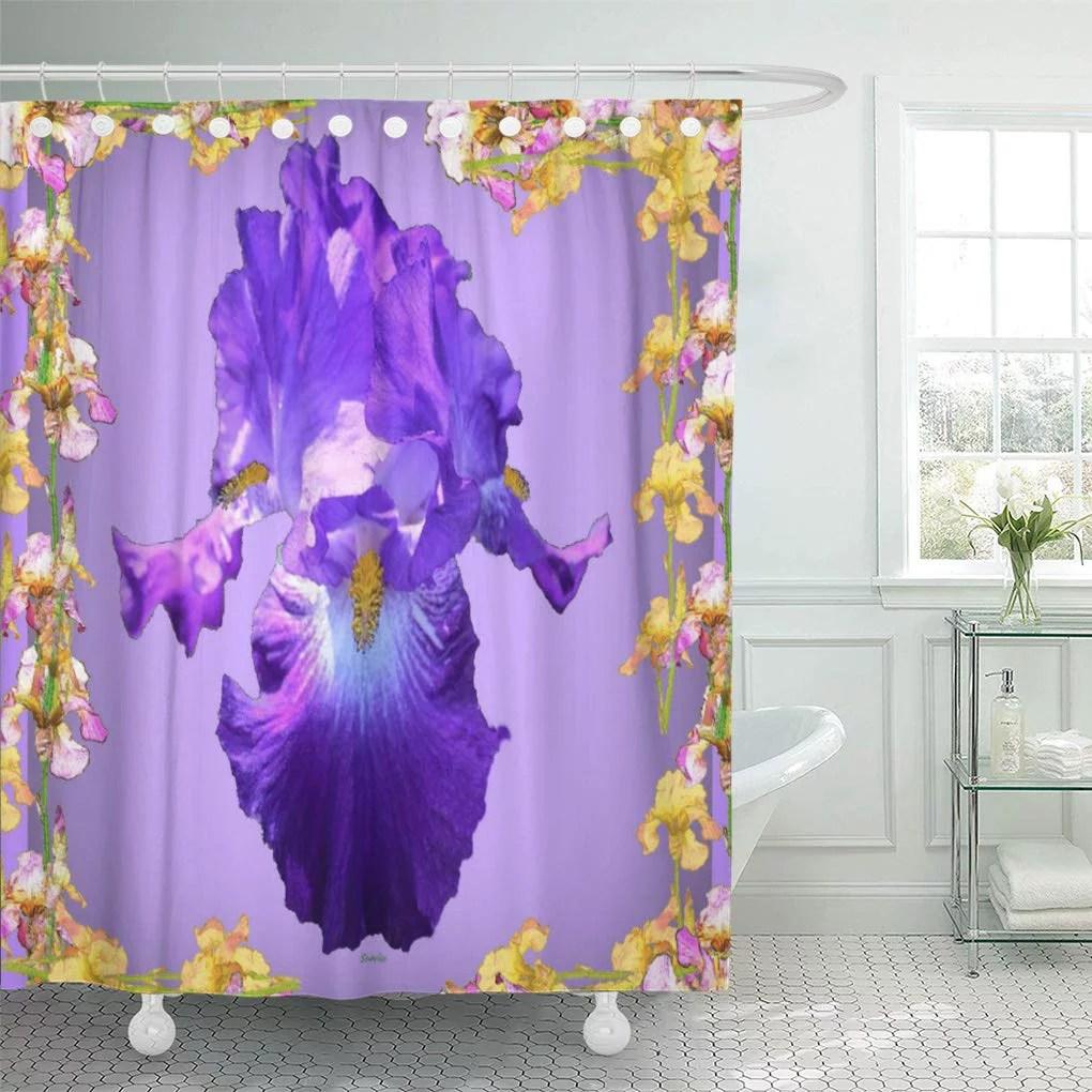 cynlon lilac purple iris floral flowers bathroom decor bath shower curtain 66x72 inch