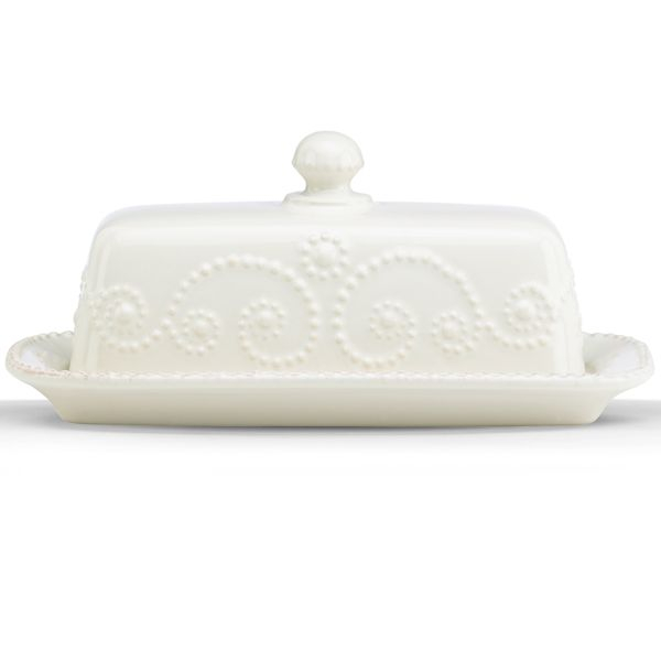 Lenox French Perle White Stoneware 7.25 Inch Butter Dish