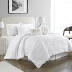 Nanshing Dessy 7 Piece Fringe Embroidered Microfiber Comforter Set With Bonus Pillows Queen White Walmart Com Walmart Com