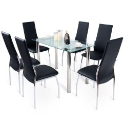 Kitchen And Dining Room Tables Where To Buy Islands Modern Rectangular Tempered Glass Top Table Furniture