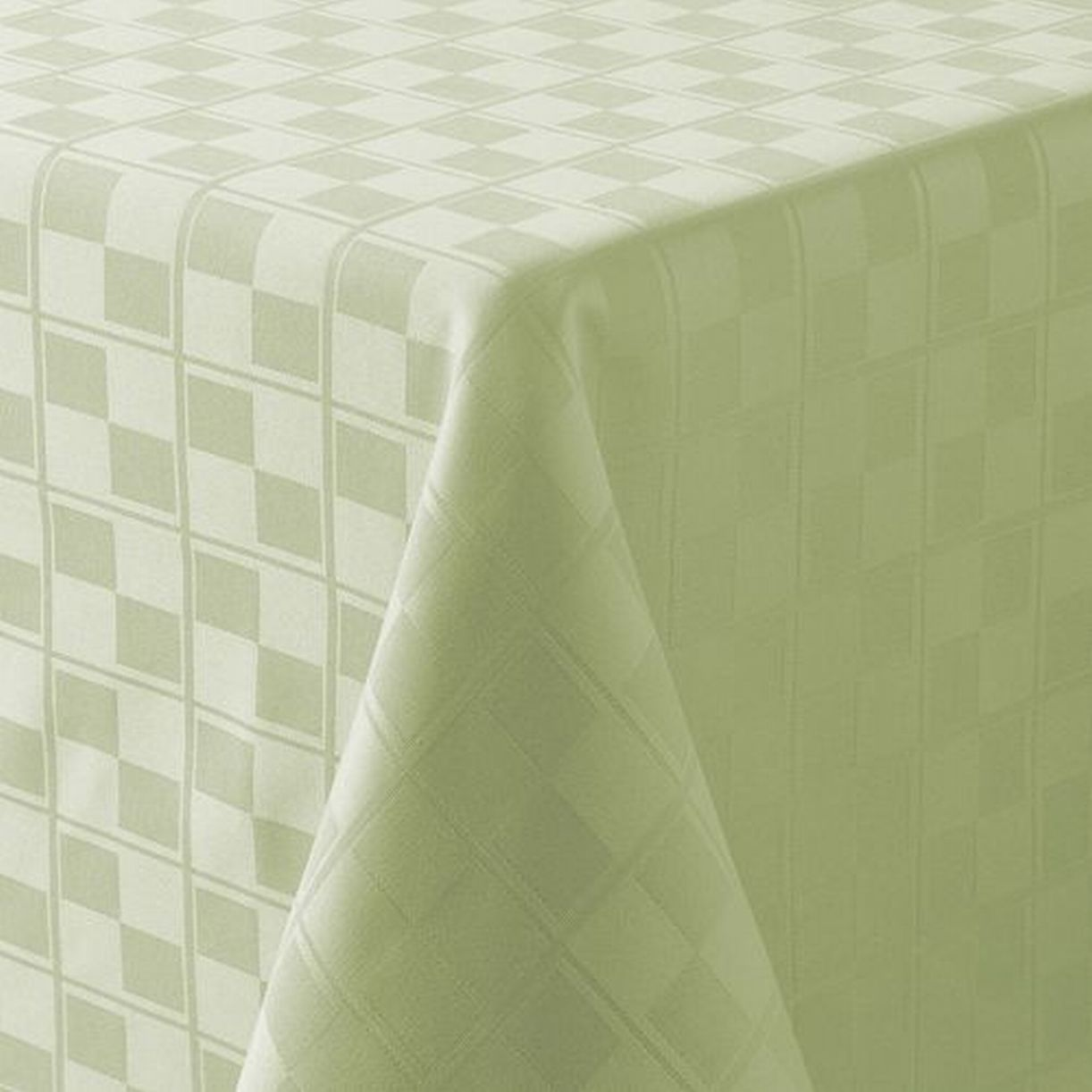 Food Network Sage Green Microfiber Tablecloth Checkered