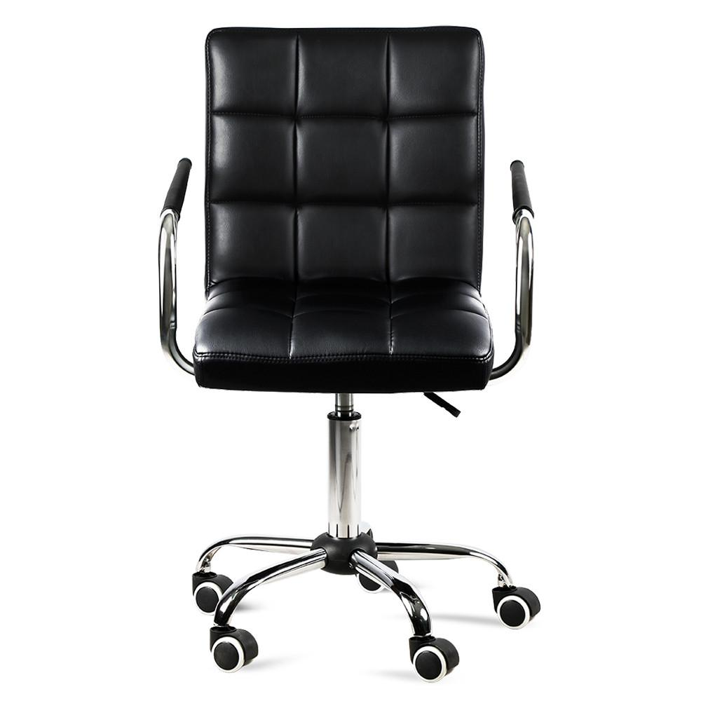 Chair On Wheels Topeakmart Modern Faux Leather Home Office Chair Swivel Computer Desk Chair On Wheels Black