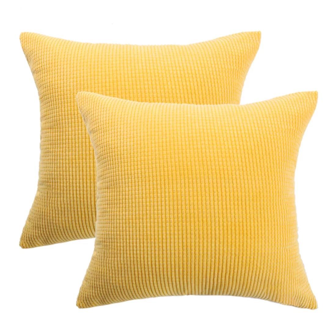 cushion covers stripe decoration throw pillow case 26 x 26 inch dark yellow 2pcs