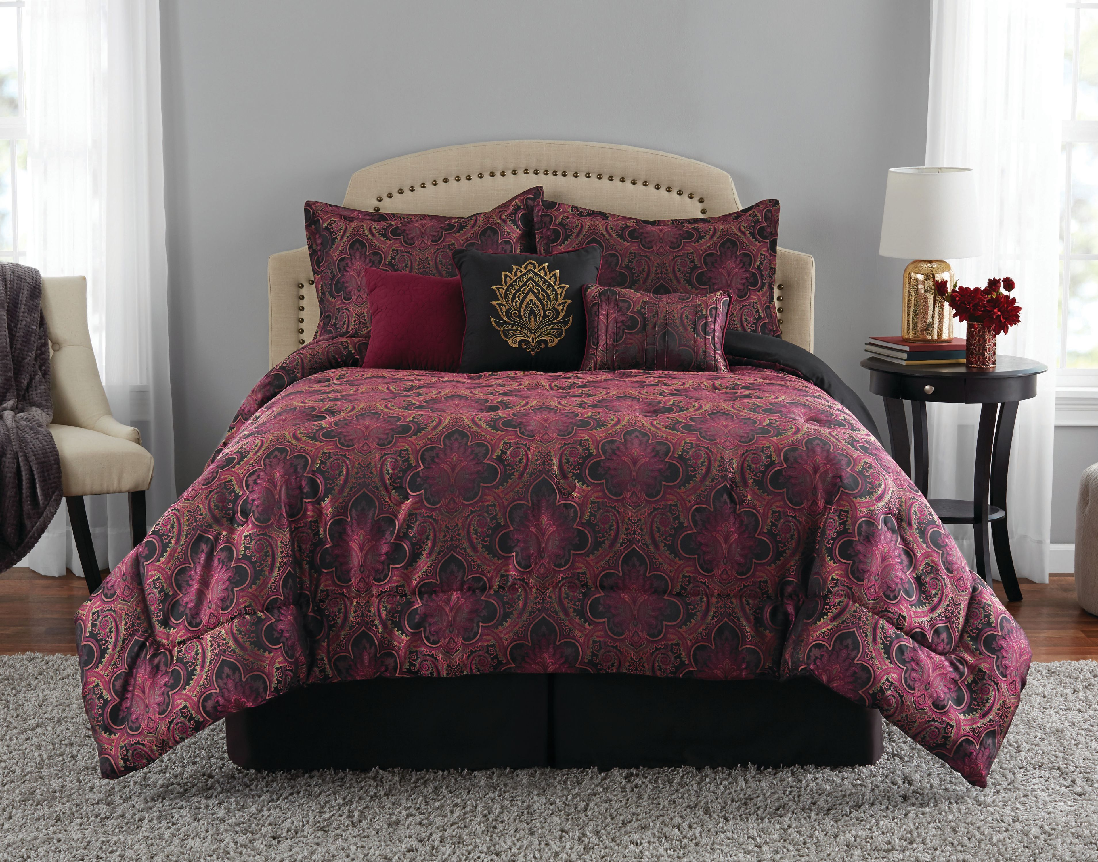 mainstays morocco luxury red black floral 7 piece comforter set full queen
