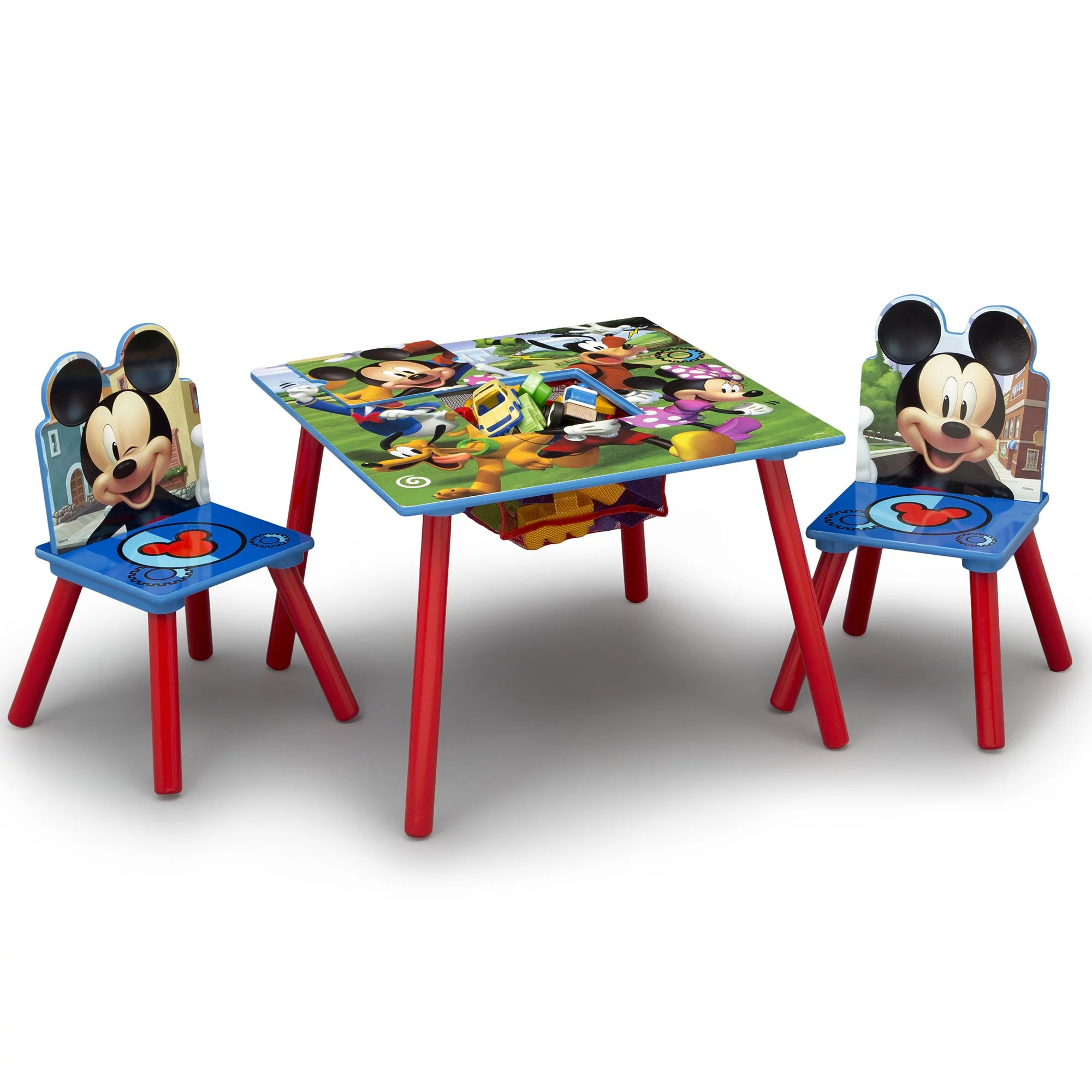 disney mickey mouse wood kids storage table and chairs set by delta children walmart com