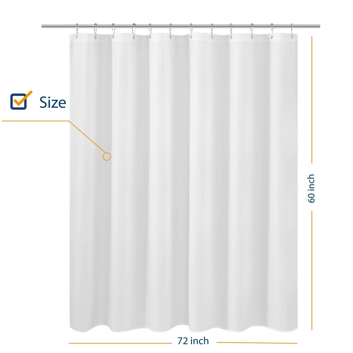 n y home fabric shower curtain liner 60 inches long hotel quality machine washable white shorter bathroom curtains with grommets 72x60 72 x60