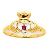 10K Yellow Gold Garnet Claddagh Inspired Ring - Walmart.com