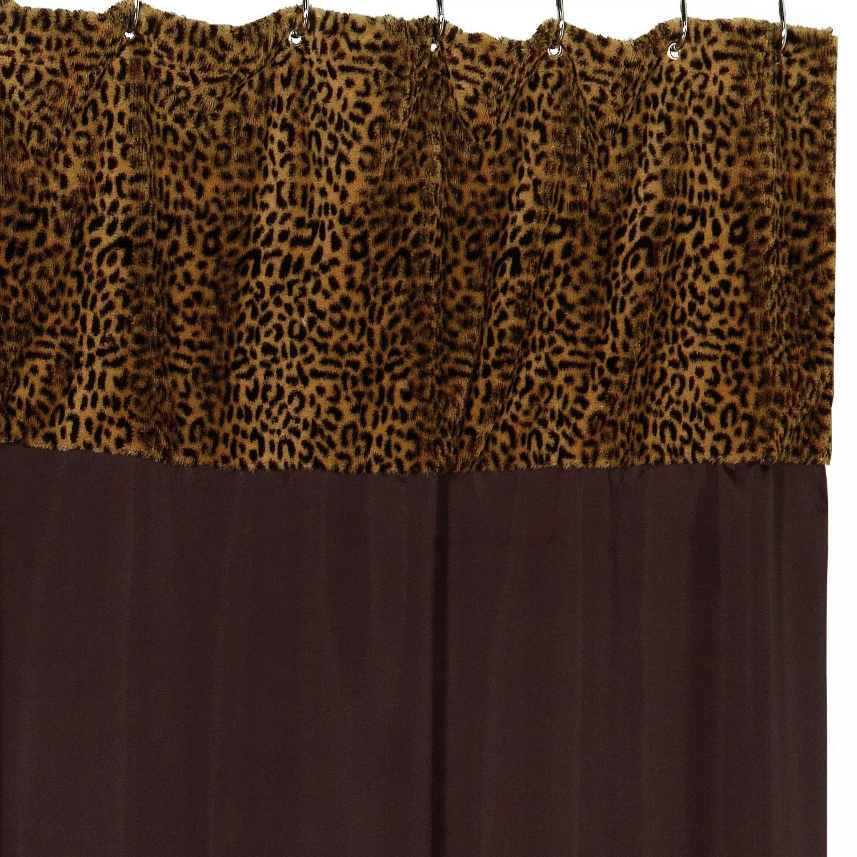 Shena Fabric Shower Curtain Cheetah Faux Fur Trimmed 70 X72 Brown