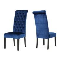 Leona Tall Back Tufted Velvet Dining Chair, Set of 2, Navy ...