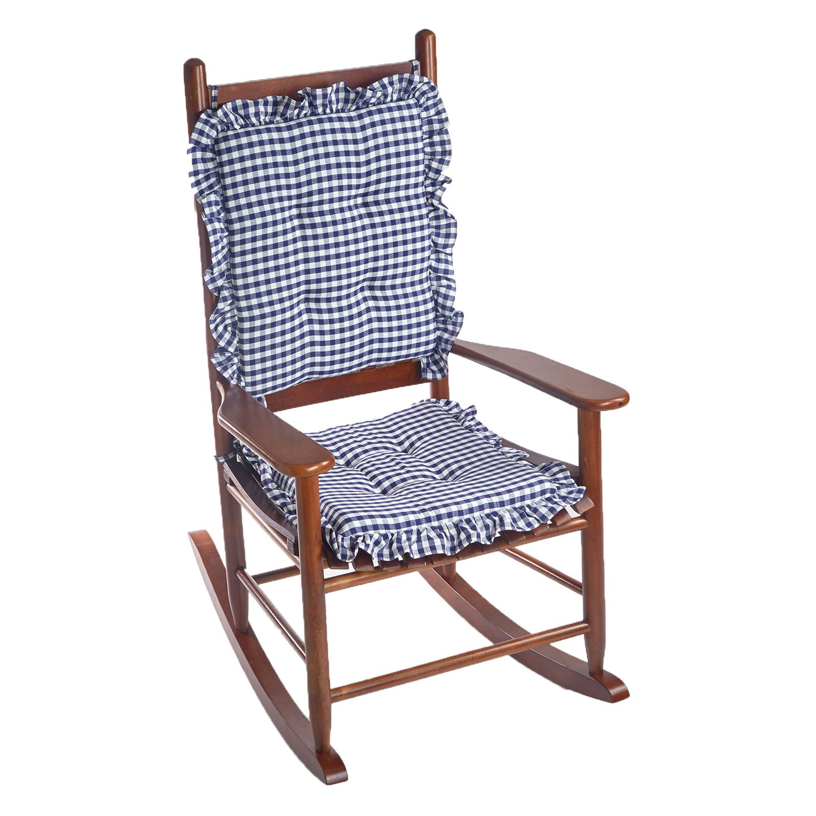 2 piece rocking chair cushions best for sewing room klear vu gingham ruffle delightfill cushion set