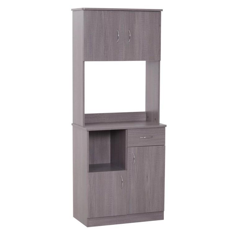 Homcom 70 Modern Free Standing Kitchen Pantry Storage Cabinet Dark Grey Wood Grain Walmart Com Walmart Com