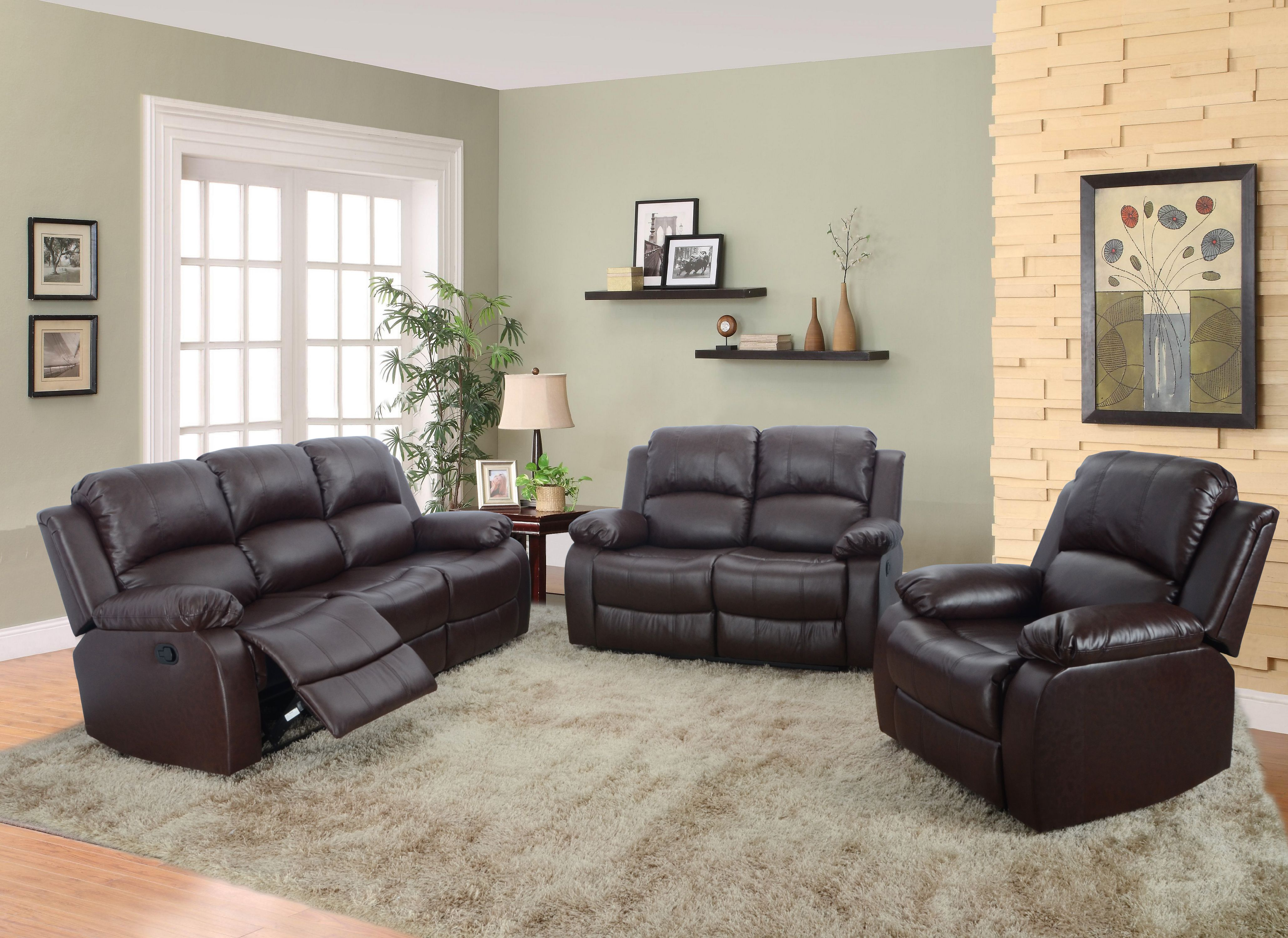 living room sofa and loveseat sets rustic wall paint colors reclining sectional aycp furniture 3pc set chair bonded leather brown color more