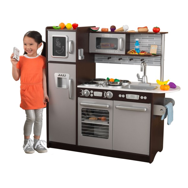 kidkraft uptown espresso play kitchen KidKraft Uptown Espresso Kitchen with 30 Piece Play Food