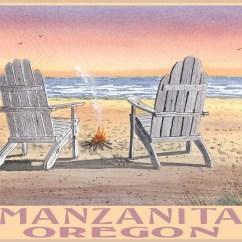 Metal Adirondack Chairs Vehicle Lift For Power Chair Manzanita Oregon Beach Art Print