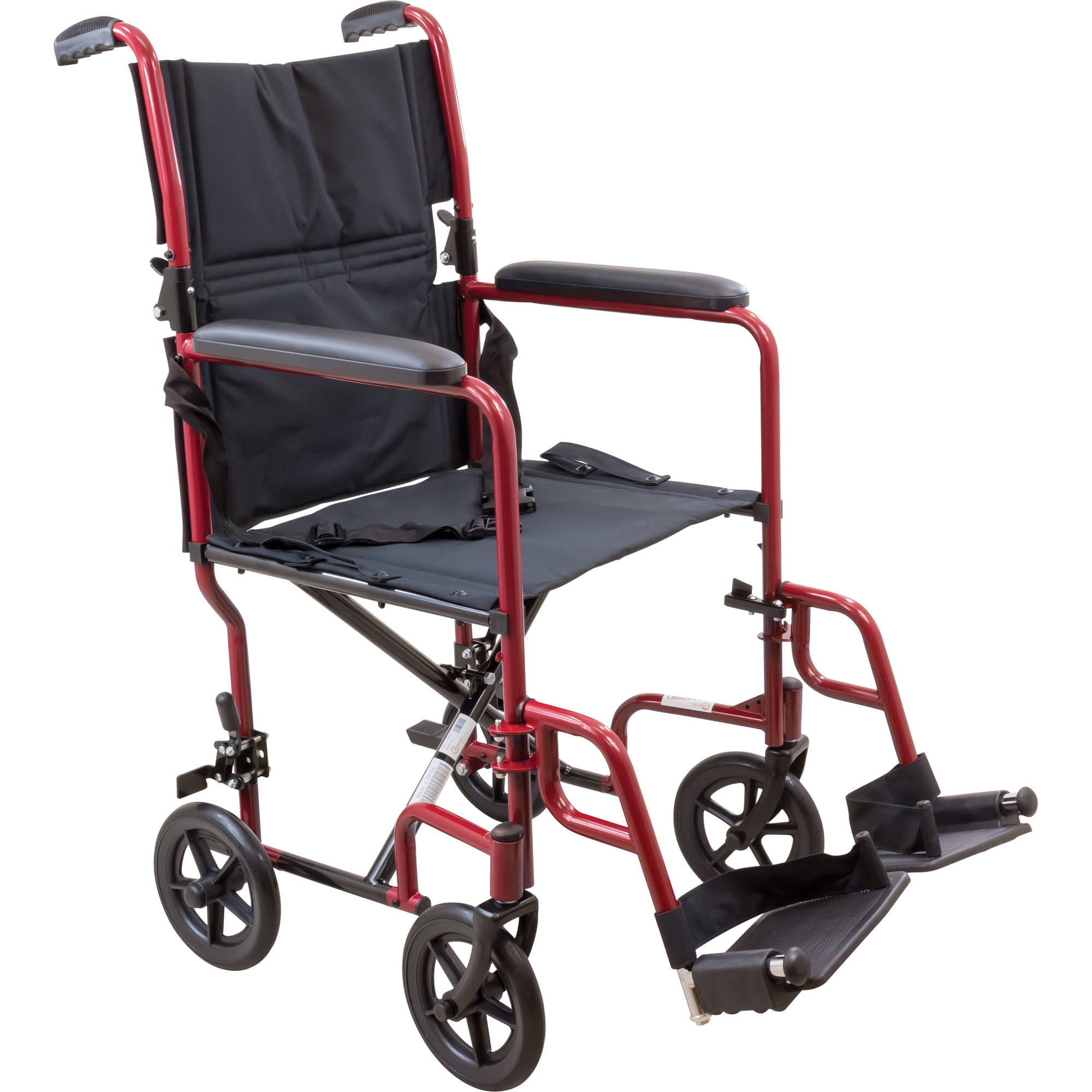 transport chair walgreens padded church chairs roscoe steel wheelchair with 19 seat burgundy walmart com