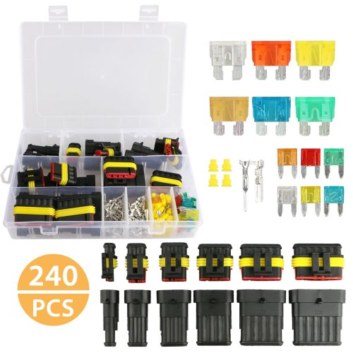 small resolution of eeekit waterproof car auto electrical wire connector terminal plug kit 1 6 pin way with 5 30 amp blade fuses assortment kit for motorcycle scooter car