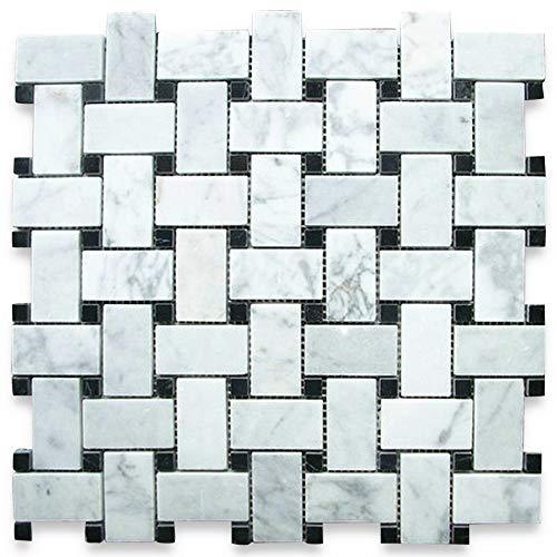 stone center online carrara white italian carrera marble basketweave mosaic tile black dots 1x2 polished venato bianco bathroom kitchen wall floor