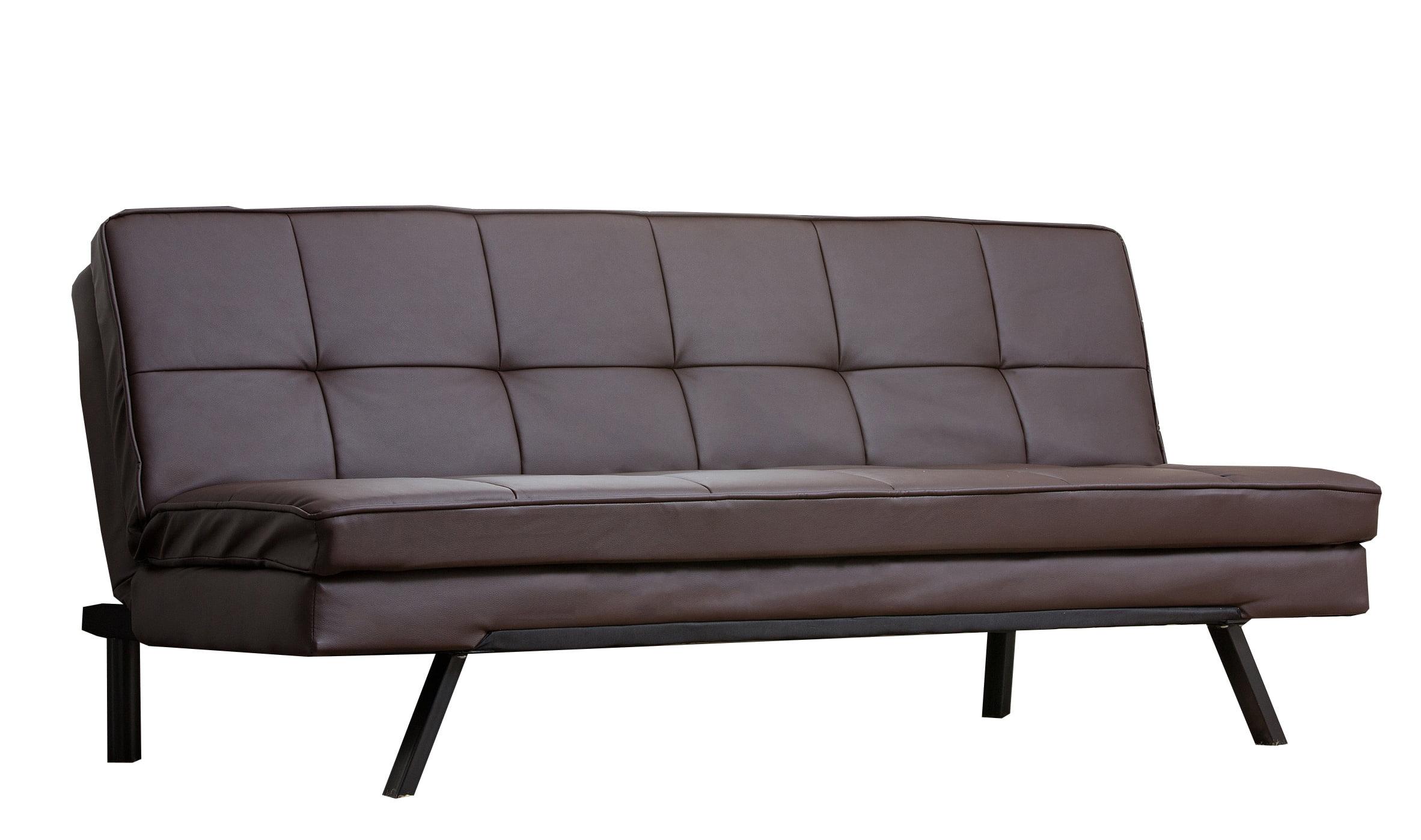bella leather convertible futon sofa bed dark brown