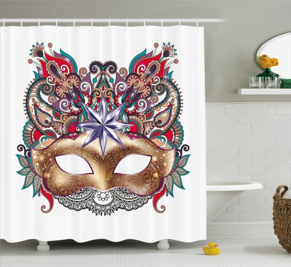 Mardi Gras Shower Curtain Venetian Carnival Mask