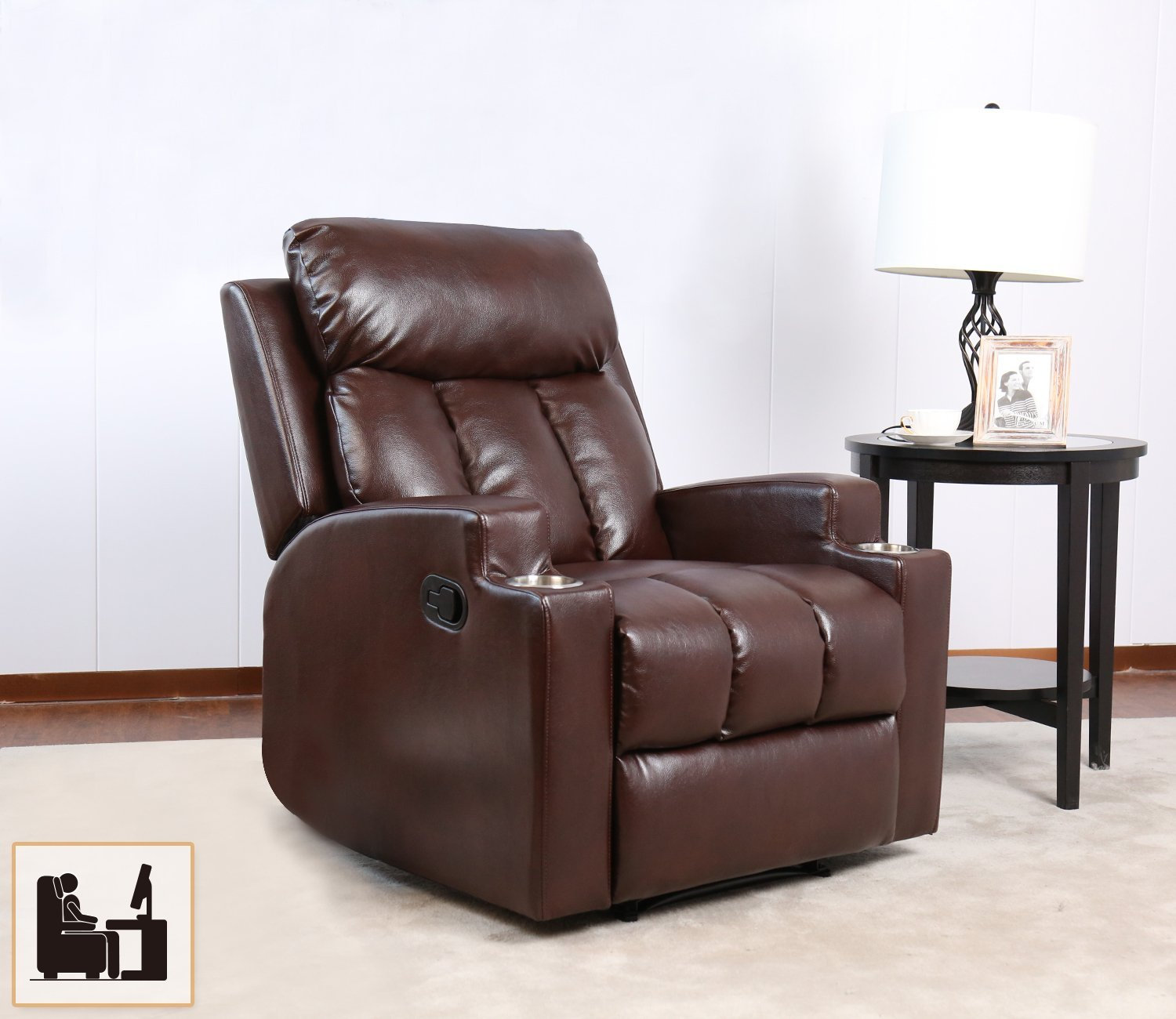 reclining chairs modern counter chair step stool yellow bonzy recliner contemporary theater seating two cup holder brown leather for living room durable framework walmart com